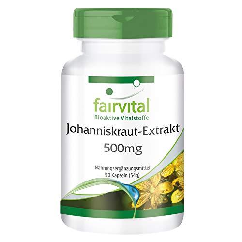 Johanniskraut Kapseln - HOCHDOSIERT mit 500mg Johanniskraut-Extrakt pro Kapsel - standardisiert auf 0,3% Hypericin - St. John's Wort (Hypericum perforatum) - 90 Kapseln