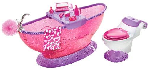 Mattel T7537 - Barbie Bathroom, mit Badewanne, Frisiertisch, Toilette und Badeutensilien