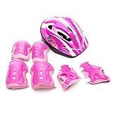 Casco de seguridad y almohadillas protectoras para niños y niñas, para bicicleta de 5 a 12 años