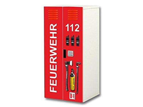 Stikkipix Feuerwehr Aufkleber-Set | SC35 | passend für den Kinderzimmer Schrank STUVA von IKEA (Korpus: 60 x 128 cm) | Möbel Nicht Inklusive