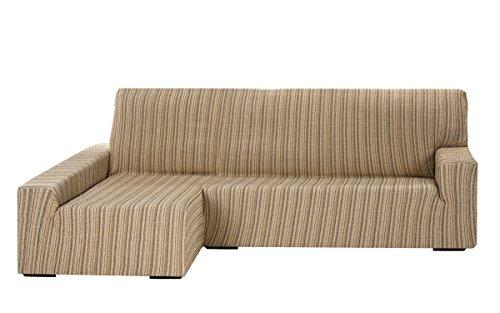 Funda Elástica para Sofá Chaise Longue, modelo MEJICO, Brazo Izquierdo, color BEIGE, Tamaño desde 240 a 280 cm, tela