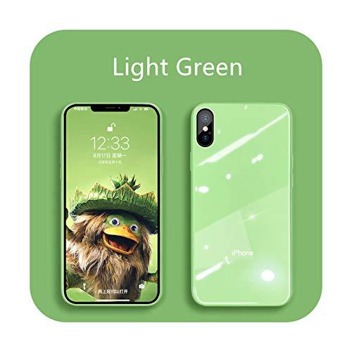 Funda de cristal líquido para iPhone 12 11 Pro X XS Max XR SE2 7 8 Plus resistente a los arañazos y caídas colorido contraportada Funda protectora verde claro para iPhone XSMAX
