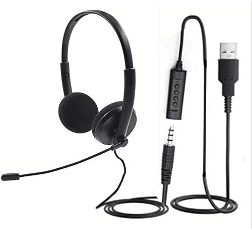 Quality Sound Headset with Microphone Noise Cancelling mic 3 5 and USB Mute Button LED for Laptop product image