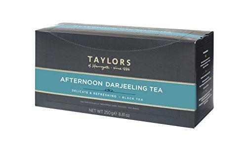 Taylors of Harrogate Afternoon Darjeeling Tea Delicate & Refreshing Black Tea / Té Nero Ideale per il Pomeriggio Delicato & Rinfrescante - 100 Individually Wrapped and Tagged Tea Bags (250 Gram)