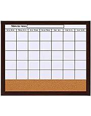 Pizarra Calendario De Borrado En Seco, Combinada De Corcho, Planificador Mensual, Nota De Mensaje, Marco De Madera Marrón, 21 X 18 Pulgadas