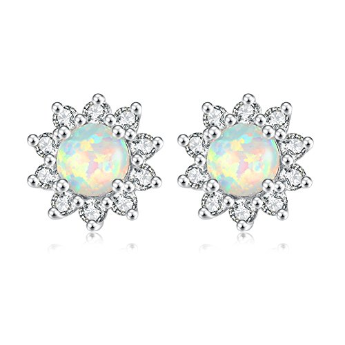 CiNily Opal Stud Earrings-Flower Earrings for Women White Opal Zircon Rhodium Plated Girls Hypoallergenic Earring Jewelry Gifts Gemstone Stud Earrings 12mm