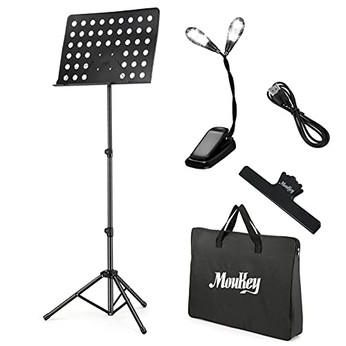 """Moukey Sheet Music Stand Folding with LED Light, Portable Music Stand for Guitar Players, Ukulele, Violin Players with Carrying Bag, Metal Tripod Stand, Music Clip Holder, Adjustable from 23"""" to 62"""""""