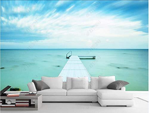 Fototapete Vliestapete 3D Blauer Himmel Und Weiße Wolken See Pier Fototapete 3D Effekt Tapeten Wanddeko Wandbilder Schlafzimmer 350x245cm