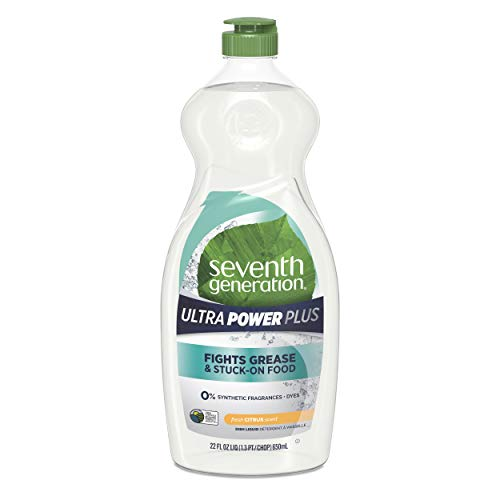 Seventh Generation Ultra Power Plus Dish Liquid Soap, Fresh Citrus Scent, 22 oz, Pack of 6