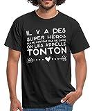Photo de Spreadshirt Super Héros sans Cape Tonton T-Shirt Homme, XXL, Noir