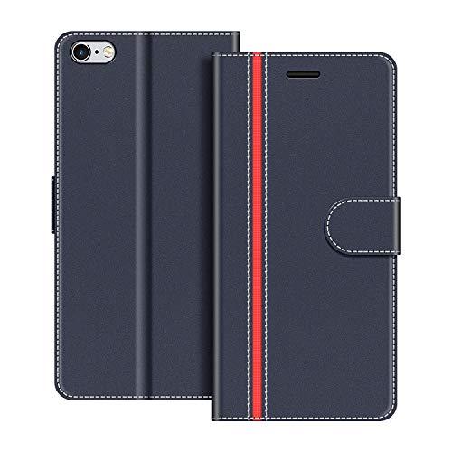 COODIO Handyhülle für iPhone 6S Handy Hülle, iPhone 6S Hülle Leder Handytasche für iPhone 6 / iPhone 6S Klapphülle Tasche, Dunkel Blau/Rot
