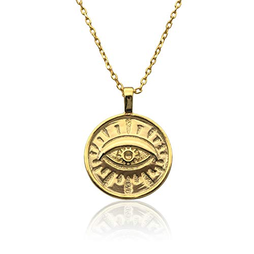 WILD SUN Evil Eye Kette mit Anhänger Auge Gold Damen   Goldene Augen Halskette für Frauen   Hochwertige Schlichte Goldkette aus 925 Sterling Silber mit 18K vergoldet