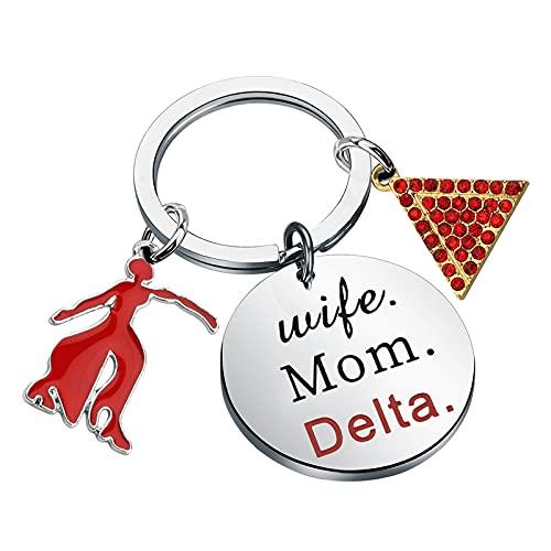 FAADBUK DST Sigma Keychain Delta Sigma Theta Gift Wife Mom Delta Jewelry Delta 1913 Sorority Keyring for Family Friend (Wife Mom Delta K-S)