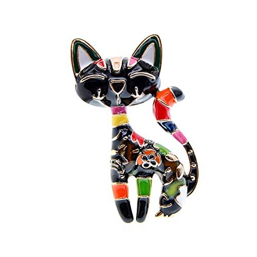 DFHTR Cindy Xiang Lindo Esmalte Pintura Gato Broche Unisex Mujeres Y Hombres Broche Pin Animal Diseño Joyería De Moda 2 Colores | Broches |- Aliexpress