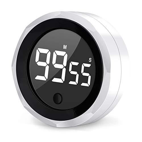 AXUAN Minuterie de Cuisine, minuterie de Cuisson numérique avec Grand Nombre de comptes à rebours de LED, 8.5 cm, Blanc