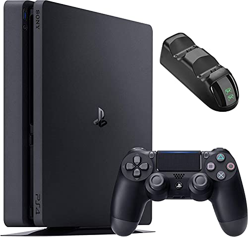 Sony Playstation 4 1TB Console - Black PS4 Slim Edition with 1TB Storage, one DS4 Wireless Controller and Tivdio Dual PS4 Controller Charging Dock Bundle