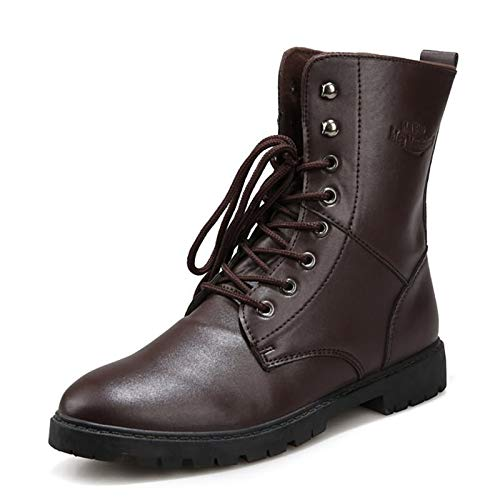 ZRH Zapatos Hombre Invierno Chelsea Boot for Men High Top Toble Boots Pull on Microfiber Cuero Punto Puntiagudo Lace up Rubber Sole Antislip Botas Hombre Impermeables (Color : Brown, Size : 41EU)