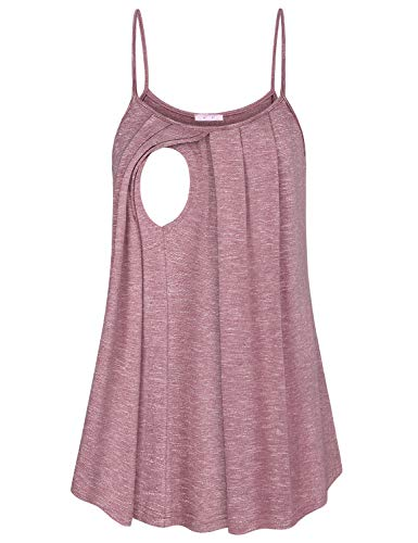 JOYMOM Nursing Tank Tops for Breastfeeding,Maternity Plain Sleeveless Spaghetti Straps Tunics Shirts Pregnancy Trapeze Flowing Round Hem Feeding Pumping Clothes Latched Mama Cami Rose Red XL