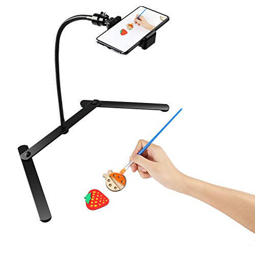 FDKOBE Tripod with Cellphone Holder, Overhead Phone Mount, Table Top Teaching Online Stand for Live Streaming and Online Video and Cook Recording
