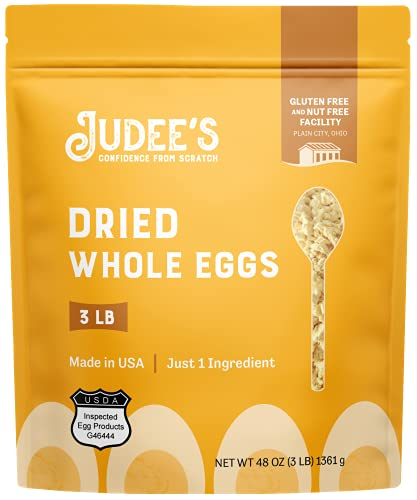 Judee's Bulk Whole Egg Powder 45lb (3lb Pack of 15) - Just One Ingredient, Pasteurized - Great for Baking and Cooking - Non-GMO, Gluten-Free & Nut-Free - Great for Camping & Outdoors - Made in USA