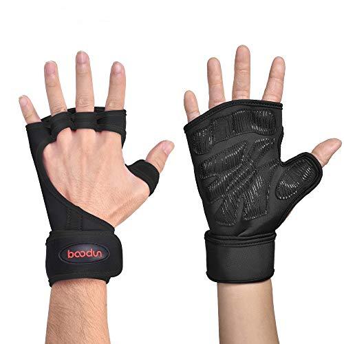 Belleashy Guantes de gimnasio para hombre, guantes de silicona antideslizantes para medio dedo, guantes deportivos de palma para culturismo, hombres y mujeres (color: verde, tamaño: M)