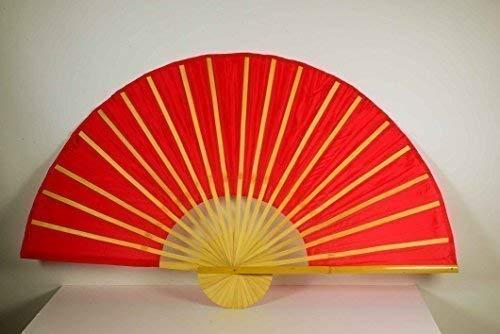 Déco Chine Bambusfächer Rouge L: 90cm, Ø : 180cm, Tissu en Polyester