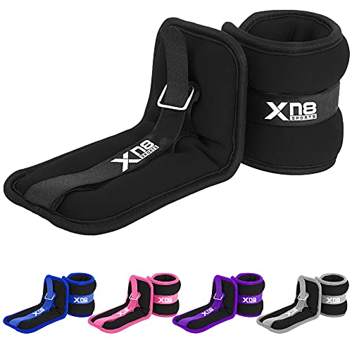Xn8 Neoprene Ankle Weights Strap 0.5kg-3kg Pair Legs Weight For Running-Jogging-Walking- Aerobics-Exercise-Gymnastics-Fitness