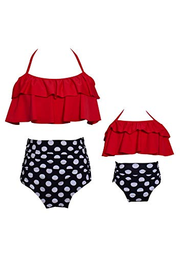 GRASWE Baby Girl Babies Lovely Swimwear Floral Print Halter Swimsuit Off The Shoulder Frill Retro Bathing Suit Outfits Summer Red Black Dot 5-6X
