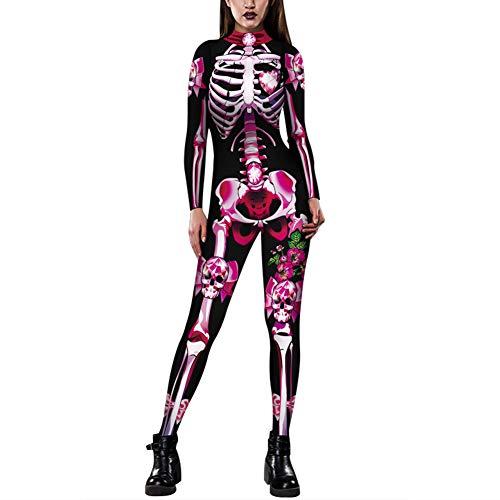 Mooz-seven Costume da Donna Halloween Cosplay Costumi Travestimenti Carnevale, Vestito a 3D Scheletro Sexy Bodysuit (Rosa, 38)