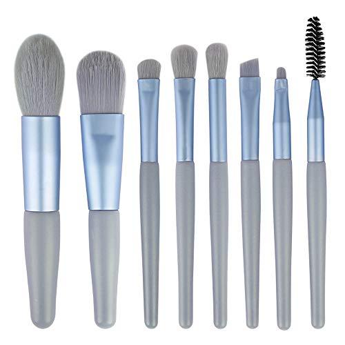 Pinceaux Cosmétique Maquillage Mini Voyage Professionnel Brush Set 8pcs for la Fondation cosmétiques Eye Concealer Lip Brosses Beauté Trousse de Maquillage (Color : Blue, Size : 8 Pcs)