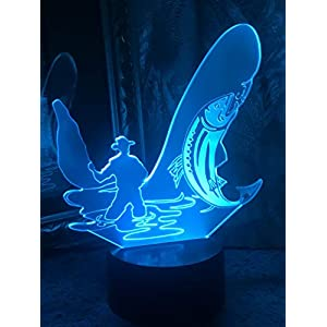 JYNHOOR 3D Night Light (Anglers), 7 Colors Touch Table Table Lamp, 3D Optical Illusion Lights with Acrylic Flat & ABS Base & USB Cabler, as Home Decor and A Best Gift