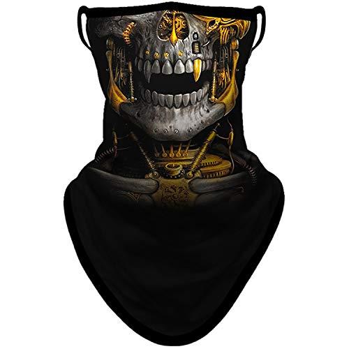 BNKIBN Skull Gaiter Face Mask with Ear Loops Bandana Mask Neck Gaiter Face Scarf Men Women for Sun Dust Wind (0101)