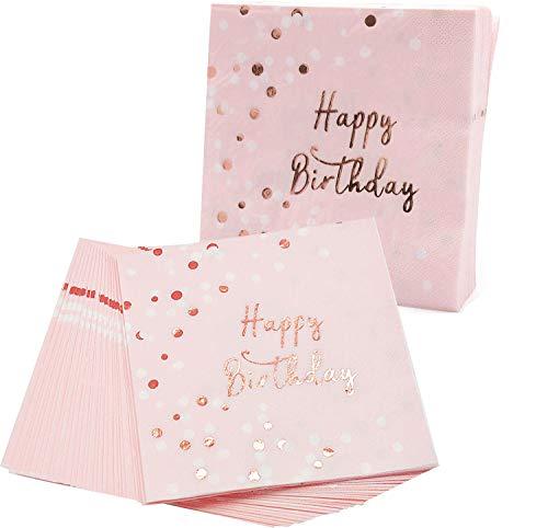 Servietten Rosegold, 32 Pcs Happy Birthday Servietten, Pink Napkins With Polka Dot For Girl Birthday Party Decorations, 3 Ply Paper,Papierservietten Rosa Gold 33x33cm für Mädchen Geburtstag Party Deko