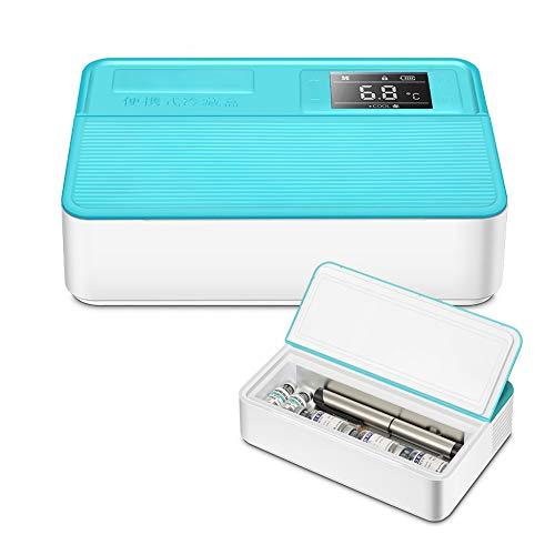 YJDQYDSH Hohe Kapazität Insulin-Kühlbox,Intelligent Temperatur Tragbar Haushalt Mini-Kühlschrank,Impfstoff Droge Transport Medizinisch Car Refrigerator Ruf Die Polizei/Blau / 220x145x58mm