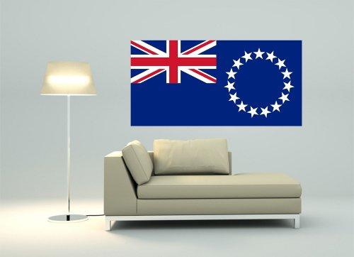 Kiwistar Wandtattoo Sticker Fahne Flagge Aufkleber Cookinseln 80 x 40cm