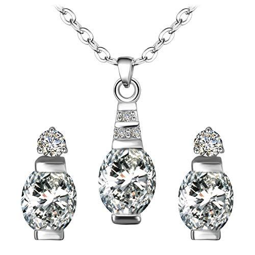 BiBeary Donne Parure di gioielli per Donne Vaso Zircone CZ Elegante Lampadina Stile Collana Orecchini