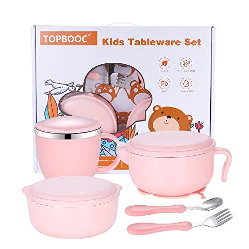 Children's Dinnerware Set, TOPBOOC Toddler Dinning Set,BPA Free Kids Tableware Include Bowl, Water Bottle, and Utensil Set Spoon and Fork(Pink)