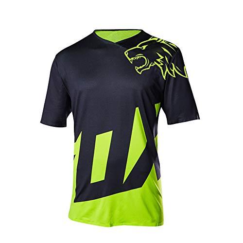 Herren Kurzarm Fahrradtrikot Mountainbike Trikot MTB Bike Shirts, feuchtigkeitsableitendes T-Shirt S schwarz / grün