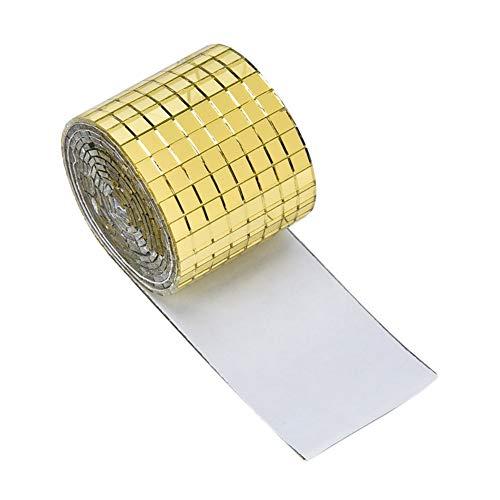Xpccj 1464 piezas/rollo de azulejos cuadrados adhesivos de mosaico mini piezas de vidrio vítreo multicolor, colores mezclados con purpurina de espejo con reverso autoadhesivo para manualidades