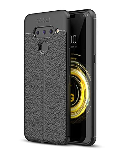 Cruzerlite LG V50 hülle, LG V50 ThinQ hülle, Carbon Fiber Texture Design und Leather Texture Design Back Cover Anti-Scratch Shock Absorption Schutzhülle für LG V50 ThinQ (Leather Black)