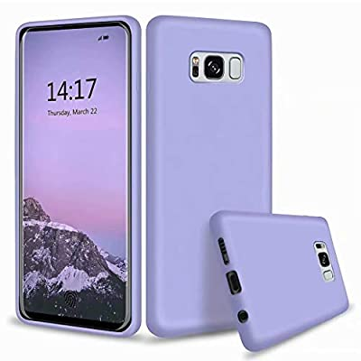 CRABOT Compatible with Samsung Galaxy S8 Liquid Silicone Phone Case Gel Rubber Shockproof Cover Soft Anti-Fall Scratch-Resistant Phone shell+1*(Free Screen Protector)-Purple from CRABOT