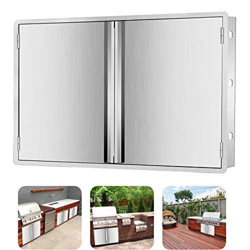 Marada 27' W x 22' H BBQ Access Double Door Kitchen Outdoor 304 All Brushed Stainless Steel Flush Mount Double Wall Door for Outdoor Kitchen,BBQ Island & Grill,Outdoor Cabinet
