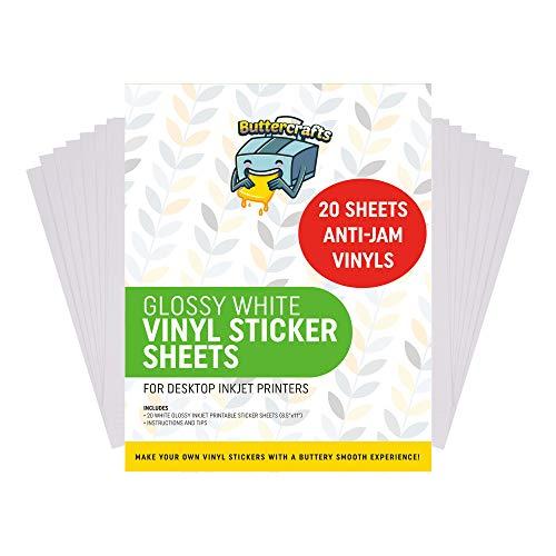 Printable Vinyl for Inkjet Printer (Glossy White | Waterproof | 20 Sheets) -...