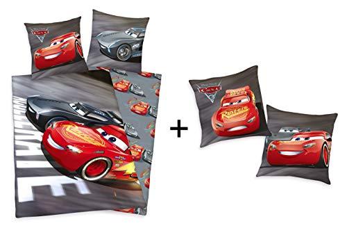 Herding Geschenkset: Disneys Cars 3 Bettwäsche 80x80 135x200cm und Kissen 40x40cm