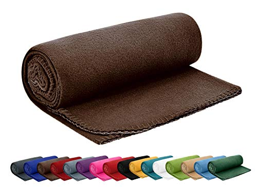 Coperta in pile, 130x 170 cm, per divano e letto, utilizzabile anche come copriletto, 100% poliestere, marrone, 130 x 170 cm