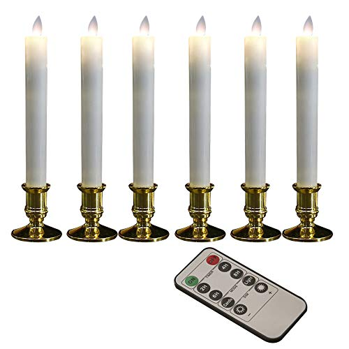 Battery Operated Flickering Candles Real Wax Candles Led Window Taper Candles with Timer and Remote Control Automatic Timer