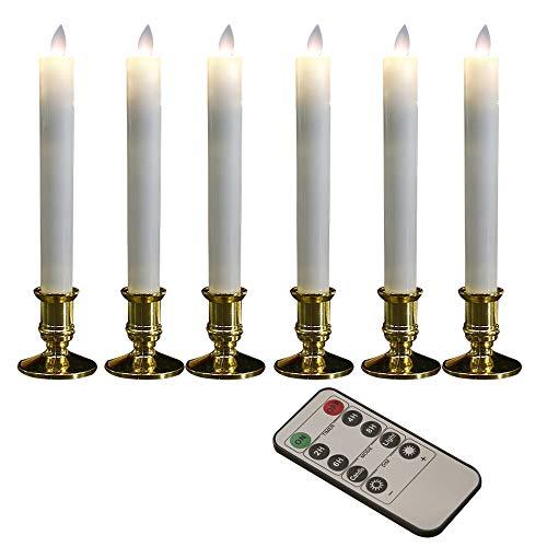 NMHSC Luces LED de vela, luces LED, velas parpadeantes, velas de cera real, velas LED cónicas de ventana, con temporizador y control remoto temporizador automático