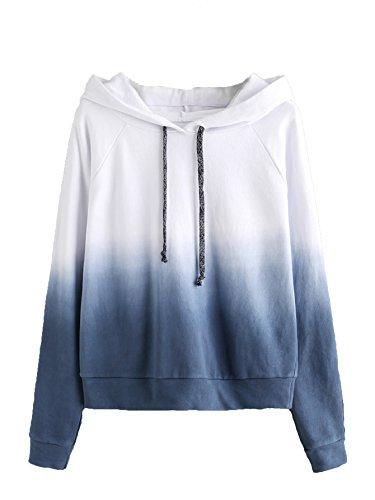 SweatyRocks Women's Long Sleeve Hoodie Sweatshirt Colorblock Tie Dye Print Pullover Shirt Blouse (X-Large, White_Navy)