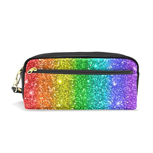 Mnsruu Trousse, Rainbow Paillettes Grande capacité Pen Sac Maquillage Outil Sac avec compartiments pour filles garçons