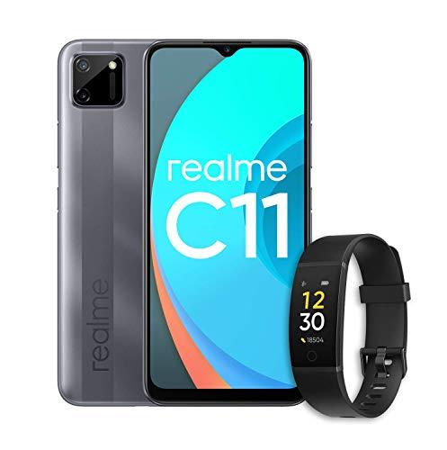 realme C11 (Pepper Grey) con realme Band (Negra) - Smartphone de 6.52', 2 GB de RAM + 32 GB de ROM, Procesador Gaming MediaTek Helio G35, Doble cámara de 15MP, Dual Sim